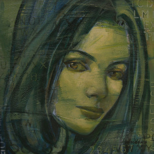 Expression Series by Anindya Mukherjee, Impressionism Painting, Acrylic on Canvas, Green color