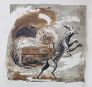 who am i by kailash deka, Pop Art Printmaking, Lithography on Paper, Gray color