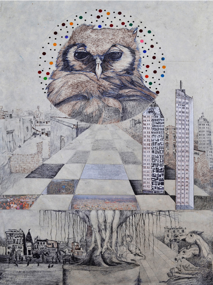Dave my city by kailash deka, Pop Art Painting, Pen & Ink on Paper, Gray color