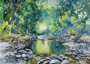 Calm by Sunil Linus De, Impressionism Painting, Watercolor on Paper, Green color