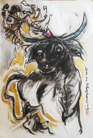 Durga 2015 by Tapan Chattopadhyay, Impressionism Painting, Mixed Media on Board, Gray color