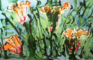 Imaginative Blooms by Baljit Singh Chadha, Impressionism Painting, Mixed Media on Paper, Green color