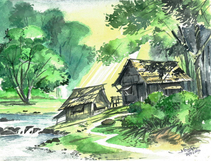 Life along the river by Monisha Stephena, Impressionism Painting, Watercolor on Paper, Green color