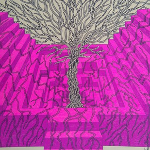Imprints of time (1) by Priyabrata Roy Chowdhury, Illustration Painting, Ink on Paper, Purple color