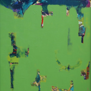 Untitled by Krupa Shah , Abstract Painting, Acrylic on Canvas, Green color
