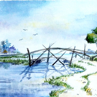 The Bridge by Monisha Stephena, Impressionism Painting, Watercolor on Paper, Cyan color