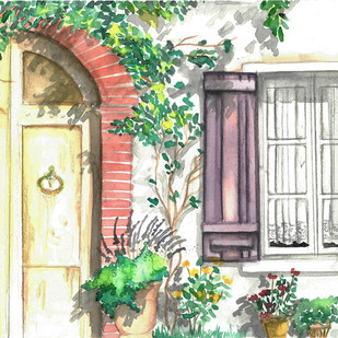 The Door by Monisha Stephena, Impressionism Painting, Watercolor on Paper, Beige color