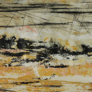 Can I hear a Painting and See a Piece of Music by Seema Pandey, Abstract Painting, Acrylic & Graphite on Canvas, Beige color