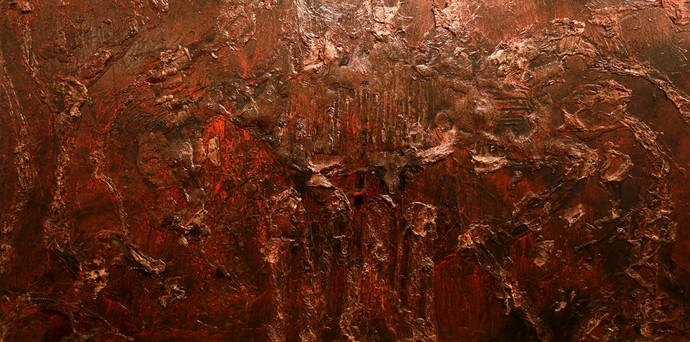 Untitled by Jahangir Patel , Abstract Painting, Mixed Media on Canvas, Brown color