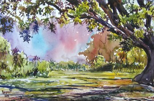 Landscape 1 by Prabhakaran, Impressionism Painting, Watercolor on Paper, Beige color