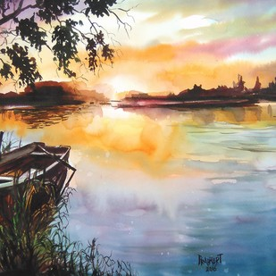 Alone the evening... by Prabhakaran, Impressionism Painting, Watercolor on Paper, Beige color