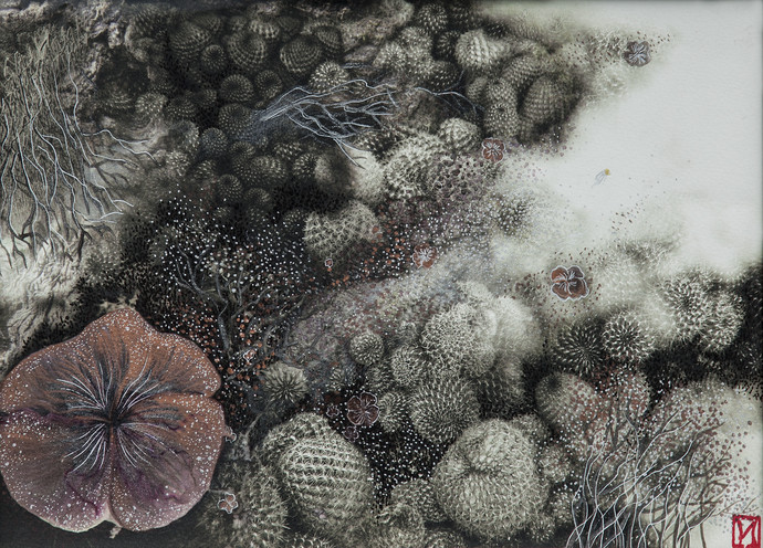 Disappearing Dialogues 02 by Nobina Gupta, Impressionism Painting, Acrylic & Graphite on Canvas, Gray color