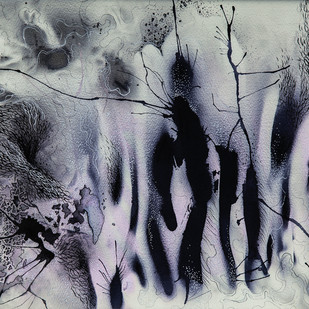 Disappearing Dialogues 04 by Nobina Gupta, Abstract Painting, Ink on Paper, Gray color