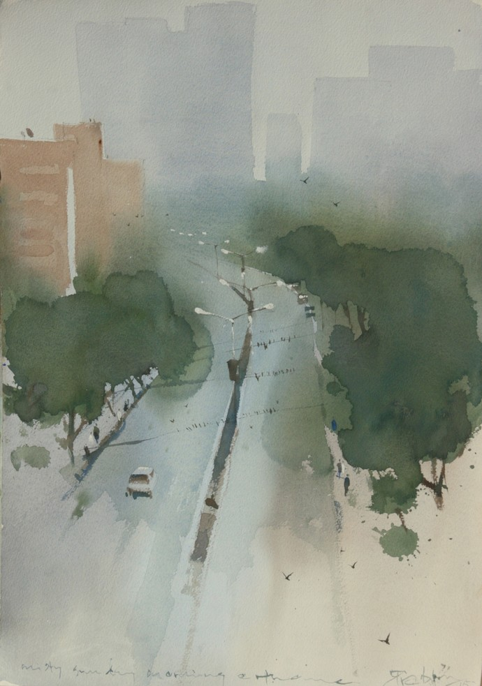 Misty morning at Thane by Prashant Prabhu, Impressionism Painting, Watercolor on Paper, Gray color