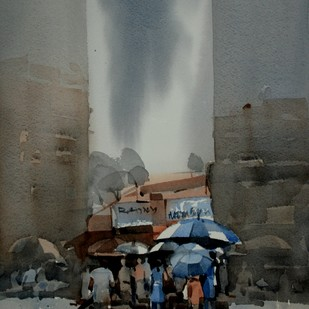 Monsoon Marketing at Dadar by Prashant Prabhu, Impressionism Painting, Watercolor on Paper, Gray color