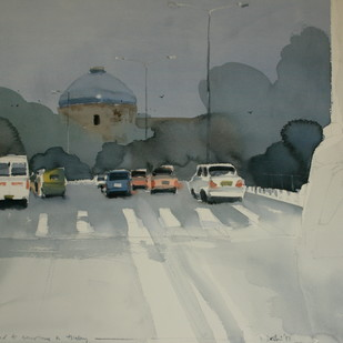 All roads lead to history at Delhi by Prashant Prabhu, Impressionism Painting, Watercolor on Paper, Gray color