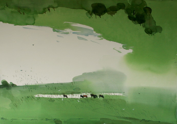 Fresh greens of Jawahar by Prashant Prabhu, Impressionism Painting, Watercolor on Paper, Green color