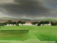 Horizontals on the way by Prashant Prabhu, Impressionism Painting, Watercolor on Paper, Green color