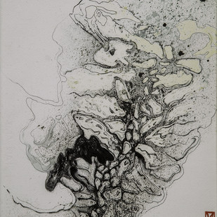 Disappearing Dialogues 27 by Nobina Gupta, Abstract Painting, Ink on Paper, Gray color