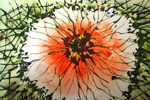 Imaginative Blooms by Baljit Singh Chadha, Impressionism Painting, Mixed Media, Beige color