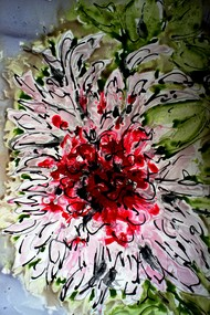 Imaginative Blooms by Baljit Singh Chadha, Impressionism Painting, Mixed Media on Paper, Brown color