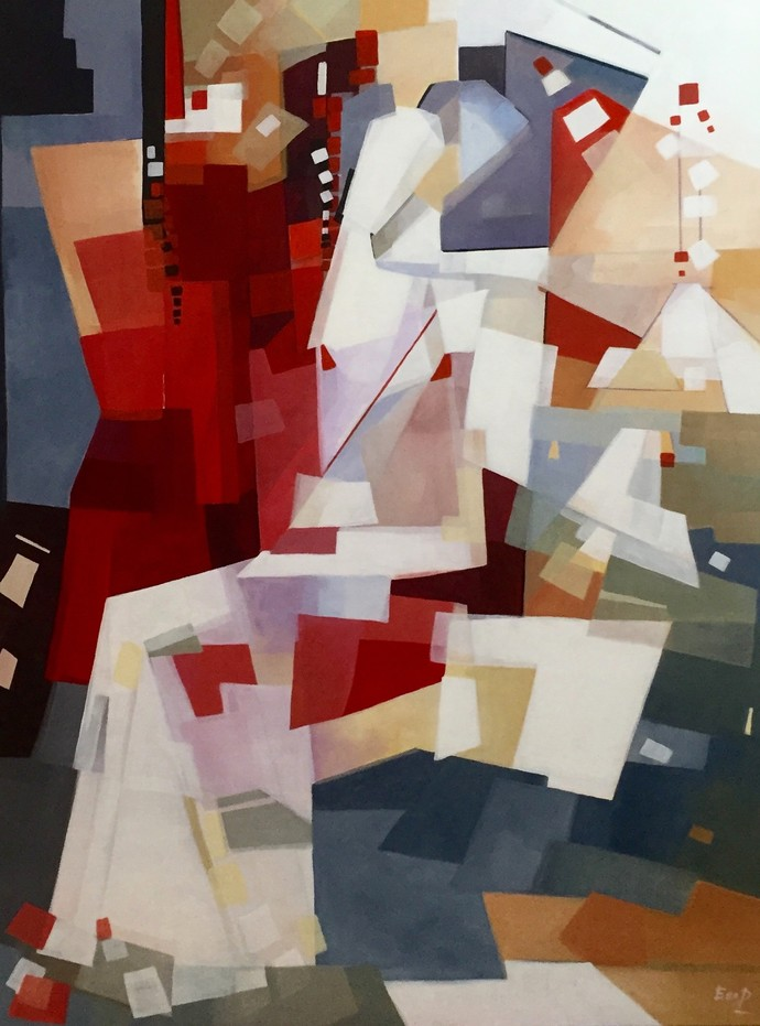 Enamored by Ella Prakash, Cubism Painting, Acrylic on Canvas, Brown color