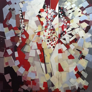 Circle of Life by Ella Prakash, Cubism Painting, Acrylic on Canvas, Brown color