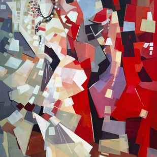 ACCEPTANCE by Ella Prakash, Cubism Painting, Acrylic on Canvas, Brown color