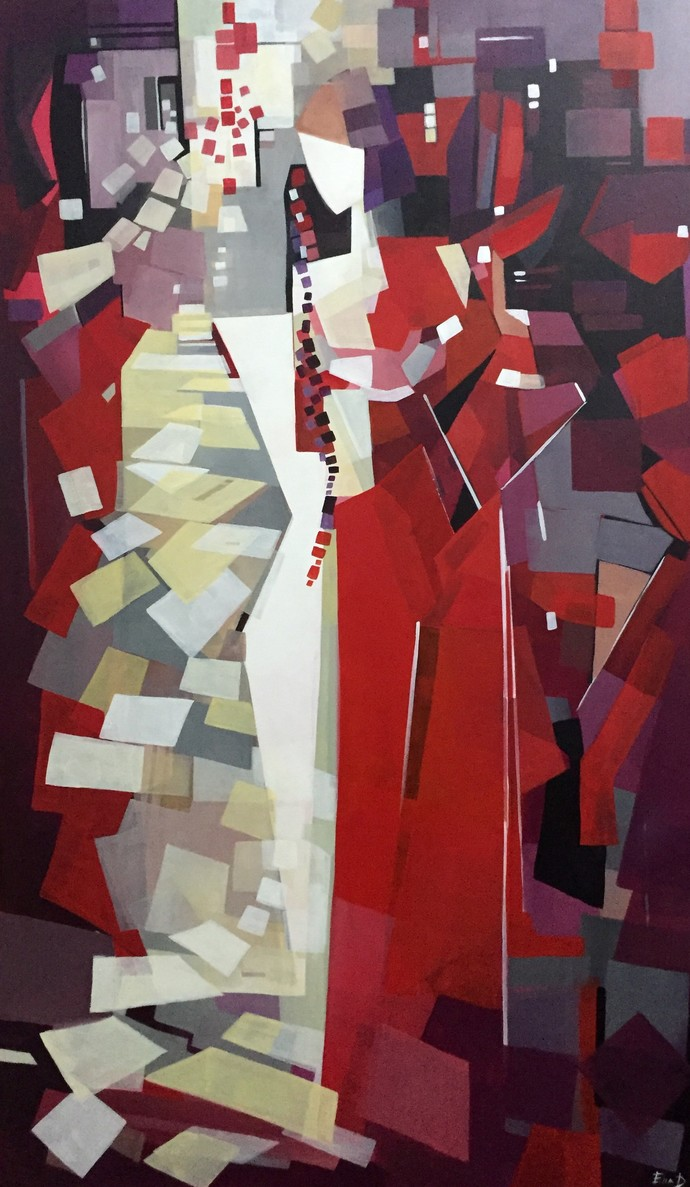 Forgiveness by Ella Prakash, Cubism Painting, Acrylic on Canvas, Brown color