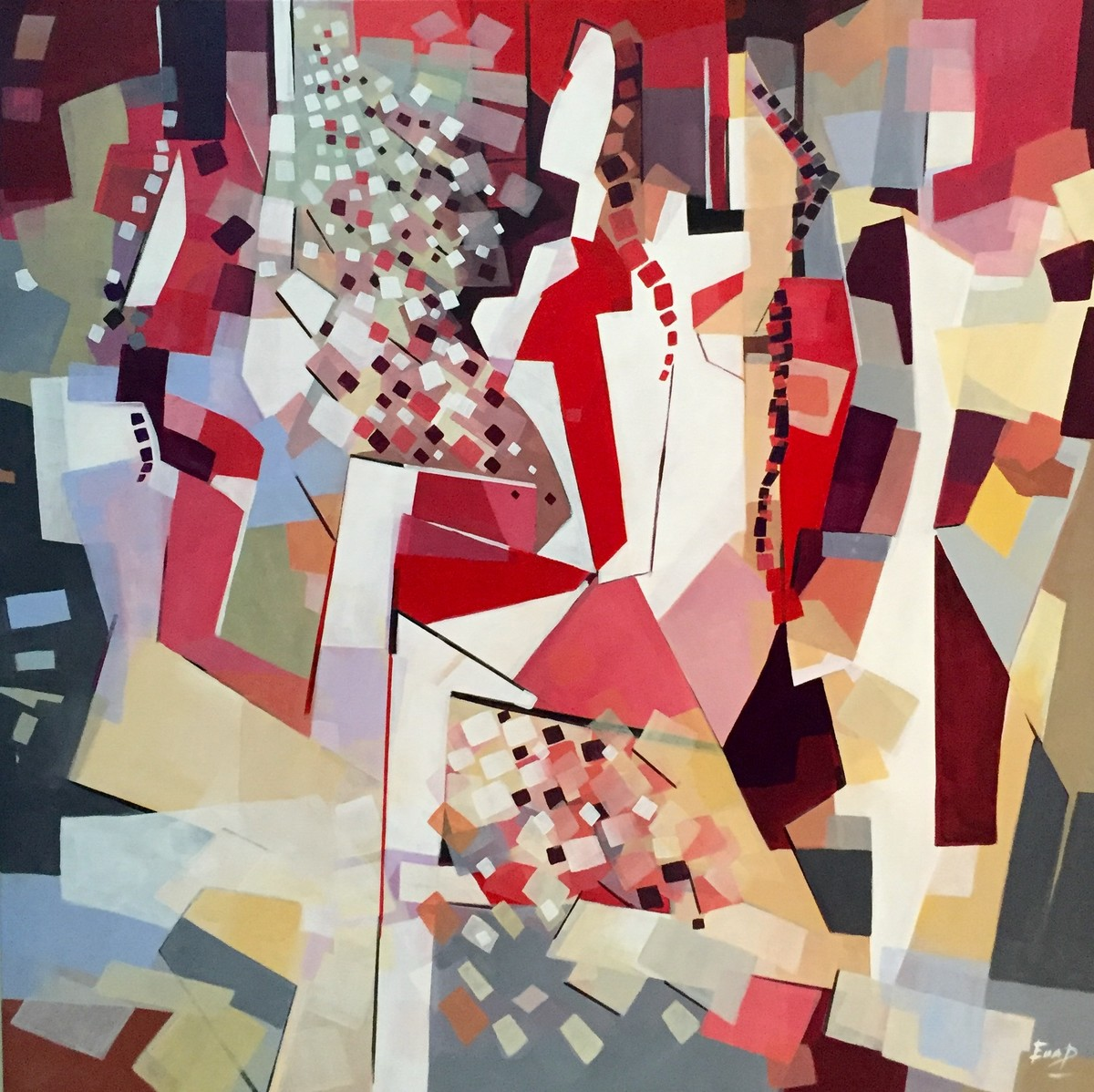 Happiness by Ella Prakash, Cubism Painting, Acrylic on Canvas, Brown color