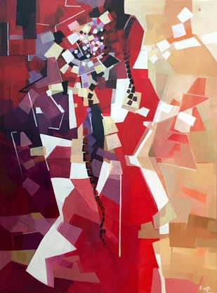 Struggle by Ella Prakash, Cubism Painting, Acrylic on Canvas, Brown color