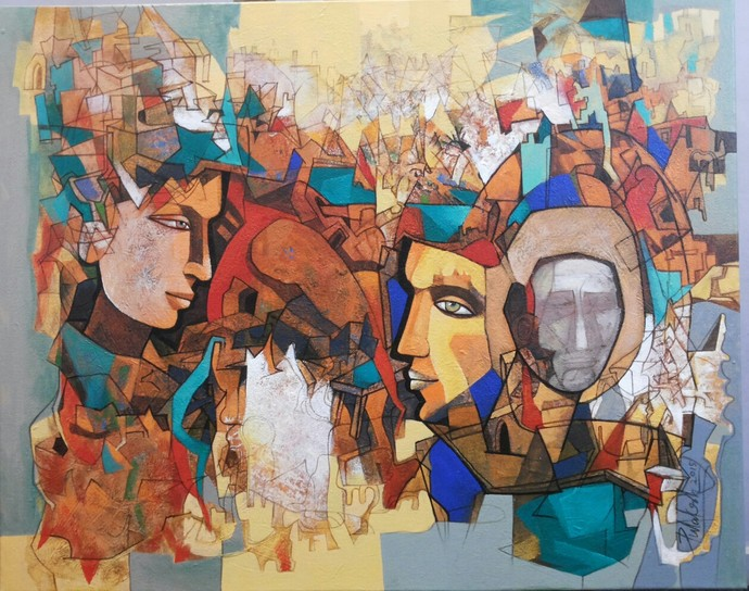 Untitled by Pulakesh Mandal, Expressionism Painting, Acrylic on Canvas, Brown color