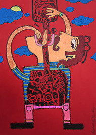 Greed 2 by Priyabrata Roy Chowdhury, Pop Art Painting, Pen & Ink on Paper, Red color