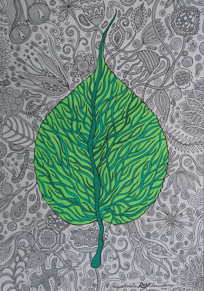 Imprints of Time 2 by Priyabrata Roy Chowdhury, Decorative Painting, Ink on Paper, Gray color