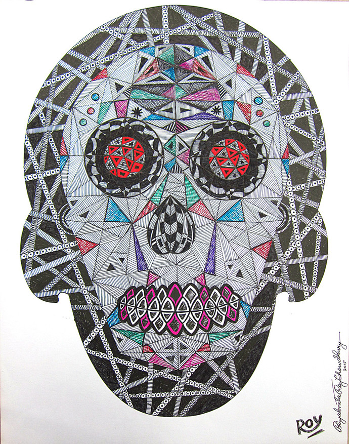 Mechanical Head I by Priyabrata Roy Chowdhury, Expressionism Painting, Ink on Paper, Gray color