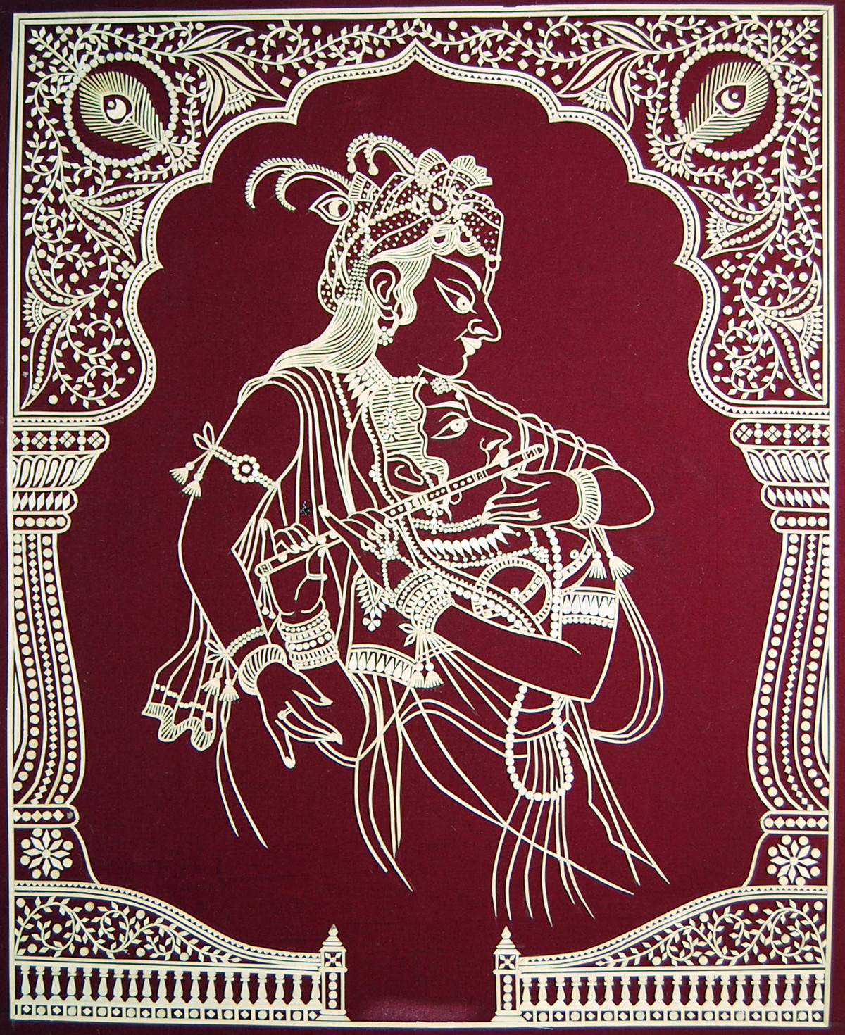 Untitled by Jitu Salvi, Traditional Painting, Mixed Media on Cloth, Brown color