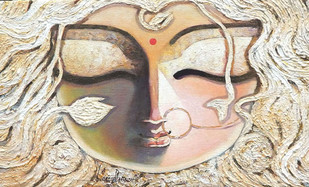 Brahmi by Subrata Ghosh, Traditional Painting, Acrylic on Canvas, Beige color