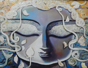 Peace by Subrata Ghosh, Traditional Painting, Acrylic on Canvas, Gray color