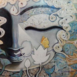 Devi by Subrata Ghosh, Traditional Painting, Acrylic on Canvas, Gray color