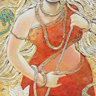 Kroor by Subrata Ghosh, Traditional Painting, Acrylic on Canvas, Beige color