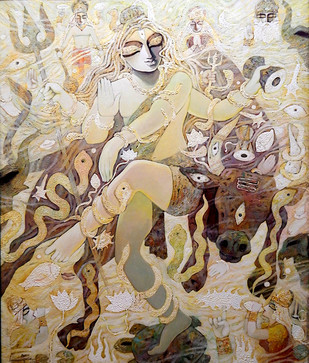 Shiva by Subrata Ghosh, Traditional Painting, Acrylic on Canvas, Beige color