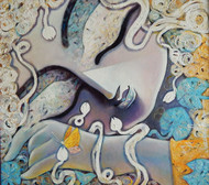 Tathagata by Subrata Ghosh, Traditional Painting, Acrylic on Canvas, Gray color