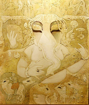 Vinayak by Subrata Ghosh, Traditional Painting, Acrylic on Canvas, Beige color