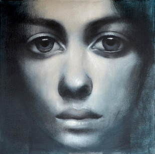 Contemplation by Kanchanmala Ghosh, Realism Drawing, Charcoal on Canvas,
