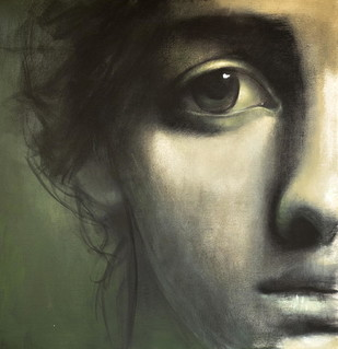 Innocence by Kanchanmala Ghosh, Realism Drawing, Charcoal on Canvas, Green color