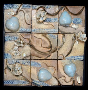 Symbiosis wall mural by Kristine Michael, Pop Art Sculpture, Ceramic, Beige color