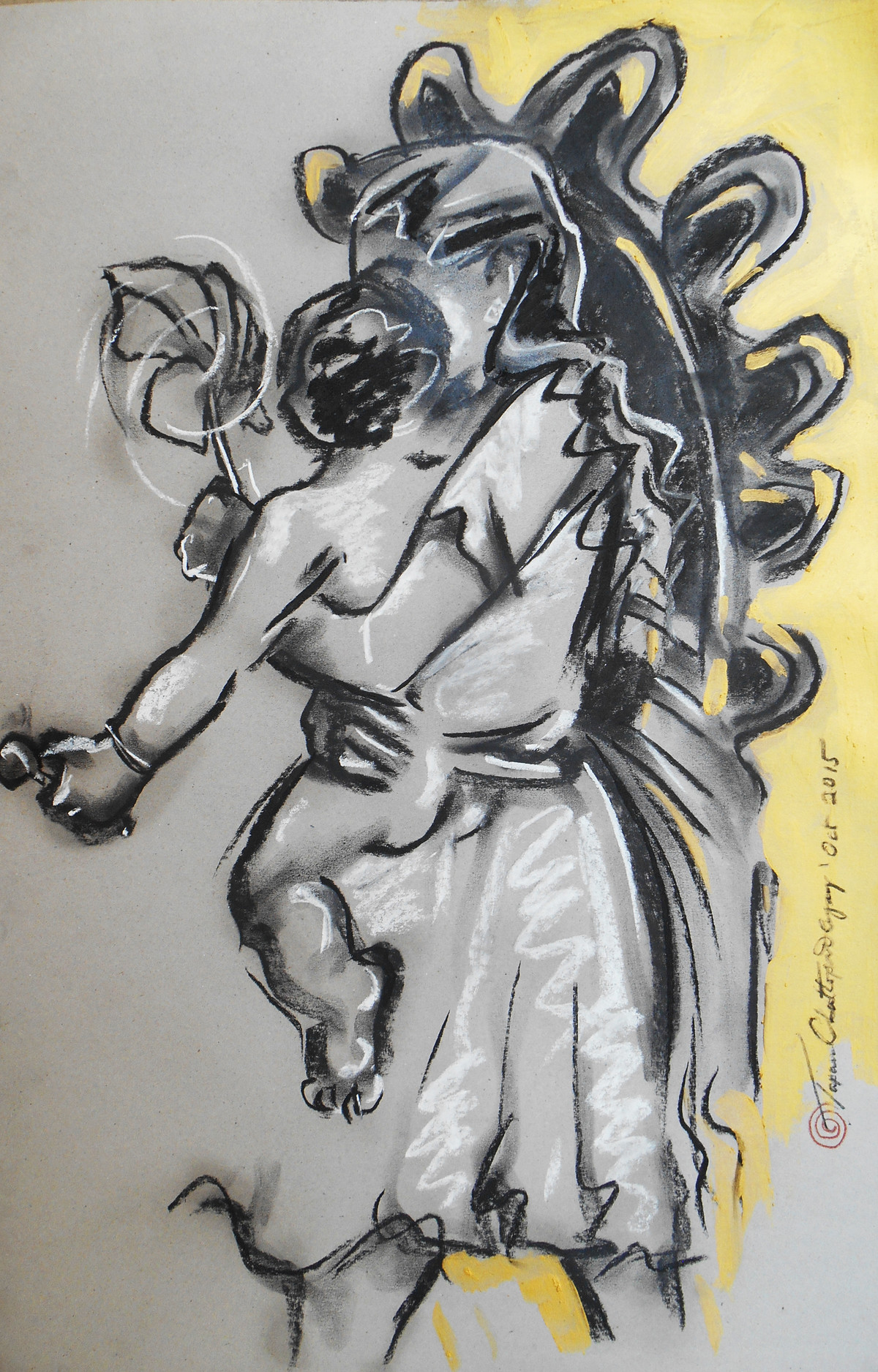 Durga 3 by Tapan Chattopadhyay, Impressionism Drawing, Charcoal on Paper, Gray color