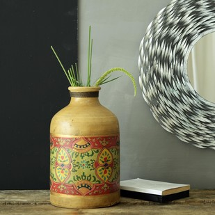 FABULIV Vintage Hand Painted Teracotta Vase Decorative Vase By Fabuliv