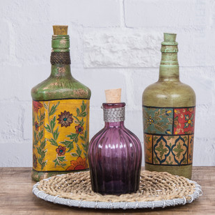 Byron Hand Painted decorative bottles Set of 2 Decorative Vase By Fabuliv