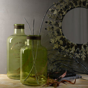 Abner & Aldis Large French Bottles Set of 2 Decorative Vase By Fabuliv